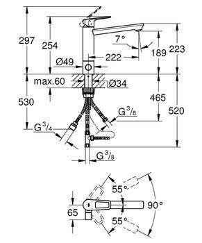 Смеситель для раковины GROHE BauLoop с запорным вентилем, средний излив (31713000)-12720