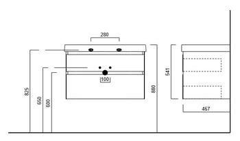 Тумба CUBO подвесная 80 лимо 2 ящика -18157