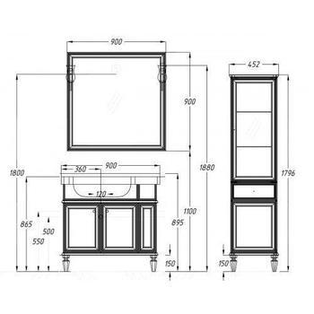 Мебель для ванной Санрайз 90 правый Слоновая кость Opadiris-13284