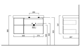 Тумба CUBO подвесная 90 правая, мальва, 2 ящика + 2 открытые полки -18162