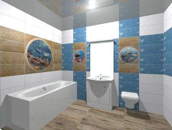 Mural Poseidon II панно (из 8-ми плиток 25*50)-17347