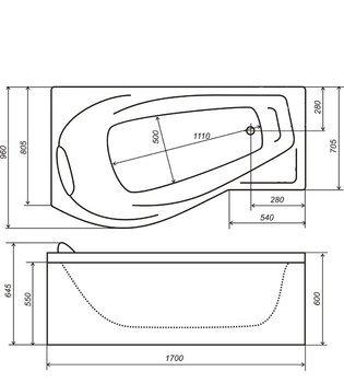 Акриловая ванна Triton  Мишель 1700 (левая)-10871