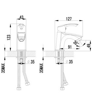 Серия plus STRIKE. Смеситель для умывальника монолитный – LM1106C-12558
