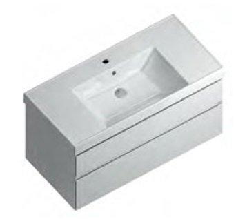 Тумба CUBO подвесная 100 белая 2 ящика-14944