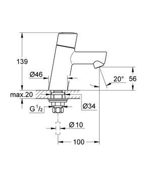 32207001 Concetto New Вертикальный вентиль GROHE-12739