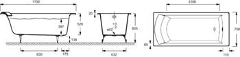 Ванна BIOVE 170Х75 без отверстий для ручек, без антискользящего покрытия (E2930-S-00)-17995
