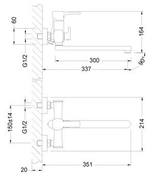 Серия EVITTA. Смеситель универсальный с плоским поворотным изливом 300 мм – LM0551C-12515