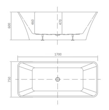 8C-020-170 Ванна VIGO 170 1700×750×600 отдельностоящая-11573