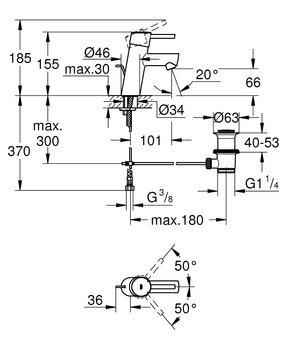 3220410E Concetto New Смеситель однорычажный для раковины, EcoJoy GROHE-12741