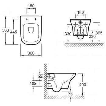 Унитаз подвесной безободковый VOX -16931