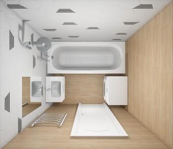 Дизайн-проект «Гексагоны и дерево в интерьере ванной комнаты»-16817
