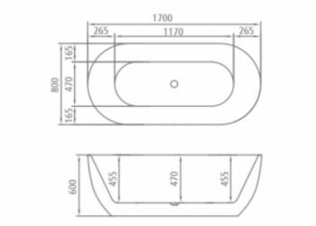 8C-368-170 Ванна SEVILLA 170 1700×800×600 отдельностоящая-11603