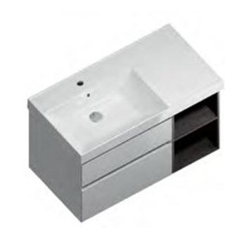 Тумба CUBO подвесная 90 левая, белый+ментс, 2 ящика + 2 открытые полки -18114