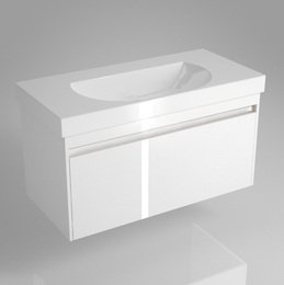 Тумба BUONGIORNO под умывальник подвесная 100 см  европейский белый с 1 выдвижным ящиком + 1 внутренний ящик, 46,2*100