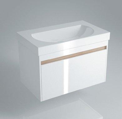 Тумба BUONGIORNO под умывальник подвесная 80 см, 1 ящ + 1 внутр.ящ цвет белый - главное фото