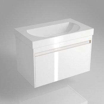 Тумба BUONGIORNO под умывальник подвесная 80 см европейский белый с 1 выдвижным ящиком + 1 внутренний ящик-9138