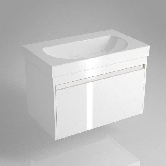 Тумба BUONGIORNO под умывальник подвесная 80 см европейский белый с 1 выдвижным ящиком + 1 внутренний ящик - главное фото