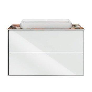Тумба PLAZA Modern, подвесная 80 см, 2 выдвижных ящика, цв.белый-9251